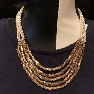 Rope chain and gold necklace